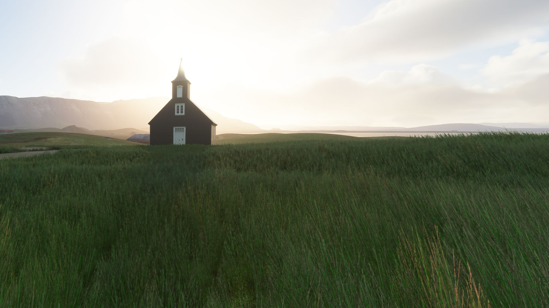A Microsoft Flight Simulator screenshot showing a single wooden church in Iceland