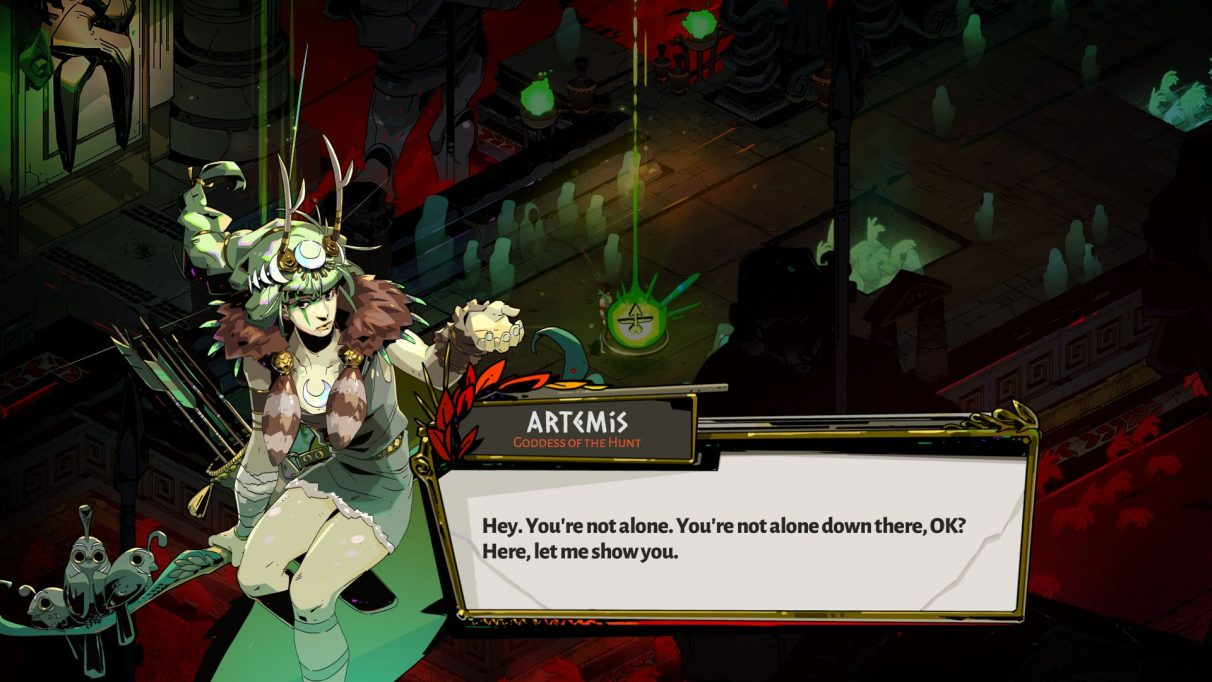 A screenshot of Zagreus speaking to Artemis in Hades. Artemis is an apparently young woman holding a bow and quiver, with slightly green tinged skin and green hair. She is wearing a tunic and a fur collar