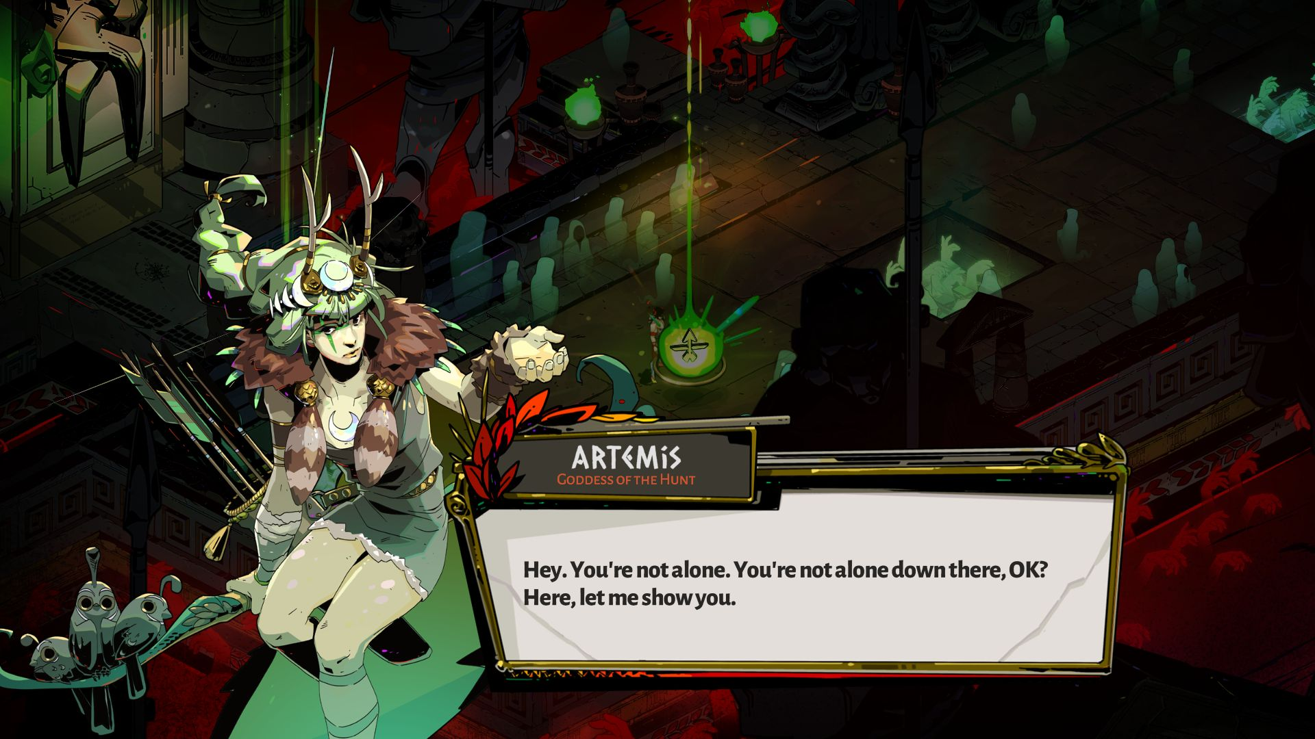 A screenshot of Zagreus speaking to Artemis. She is a young woman with slightly green tinted skin, a plain green tunic and a fur collar, with green hair and a headband adorned with antlers. She is carrying a bow and quiver of arrows.