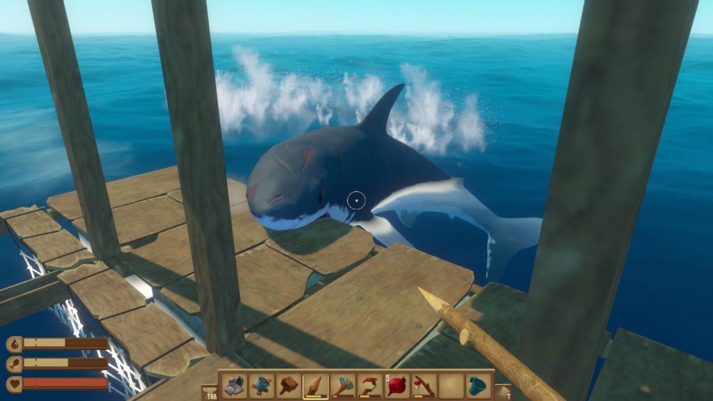 A screenshot from Raft showing a shark climbing aboard a wooden platform.