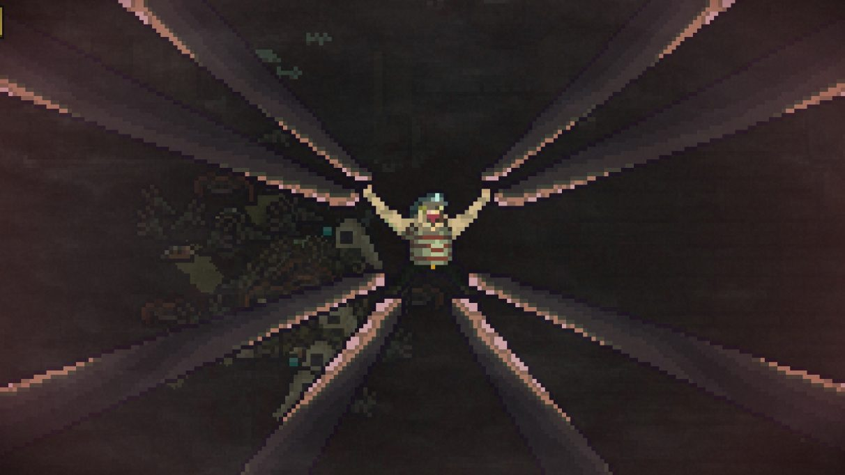 A screenshot of a little pixel man in Sea Salt, who is unfortunately being pulled to all four corners of the screen by eight tentacles (two for each limb)