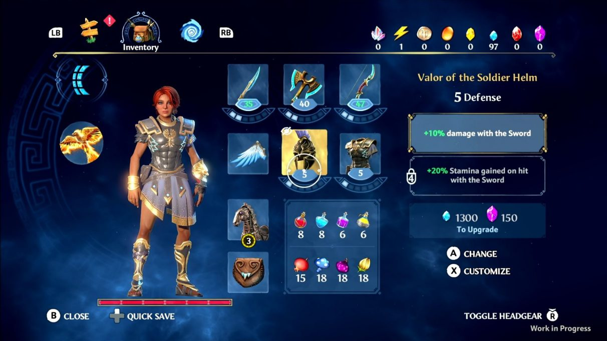 A screenshot of the gear screen in Immortals Fenyx Rising, showing slots to equip a sword, axe and bow, a helmet and armour set, and a horse of your choosing.