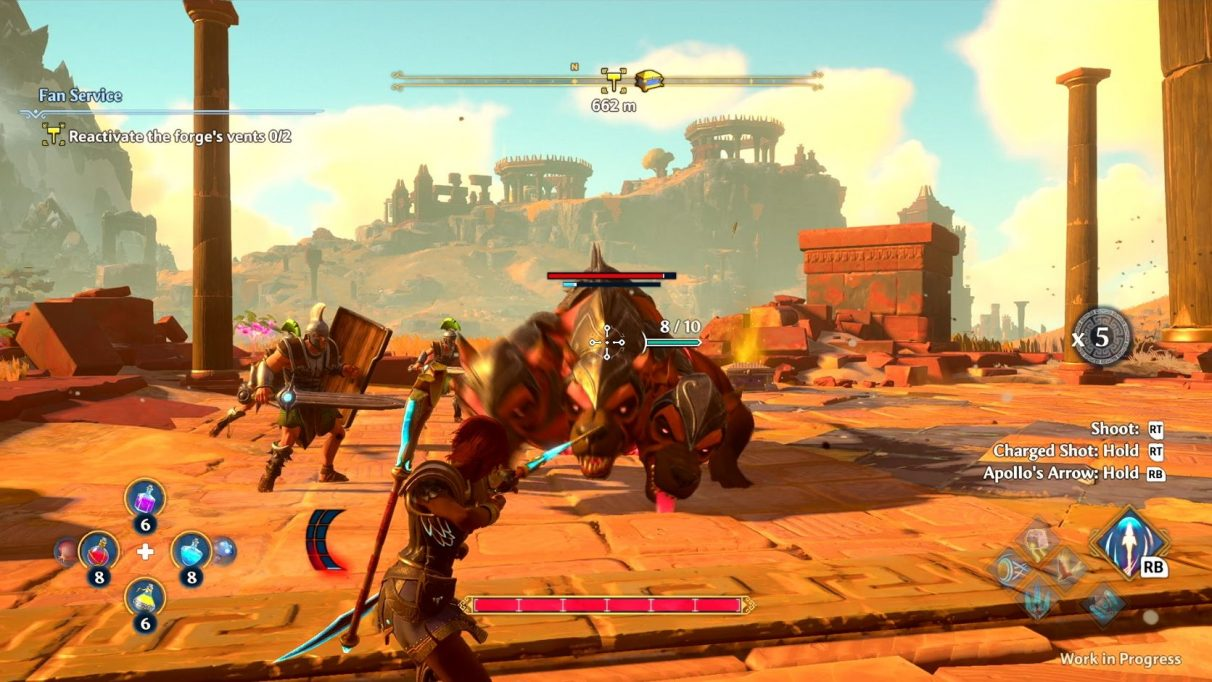 A screenshot from Immortals Fenyx Rising taking aim at a giant red three-headed dog. It is charging at her; all the heads look pretty cross.