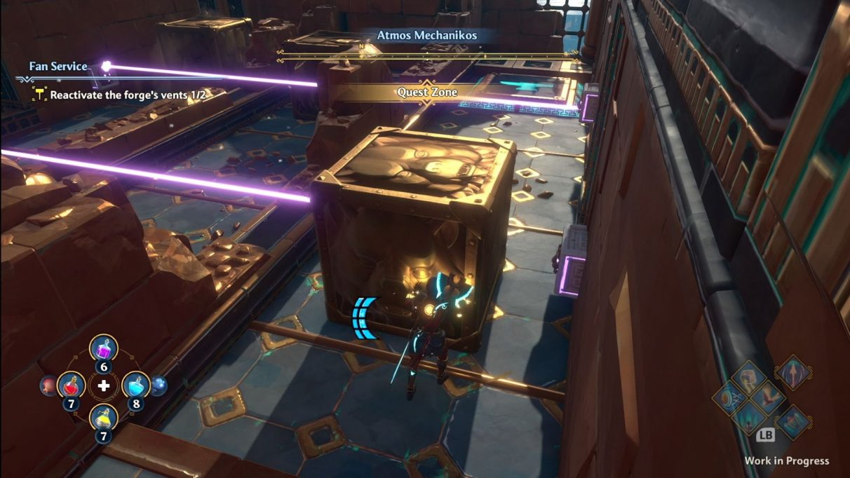 A screenshot of Fenyx in the middle of solving a puzzle in Immortals Fenyx Rising. They are pushing a large metal block into the path of some lasers. More blocks and lasers at different levels are visible off to the left hand side