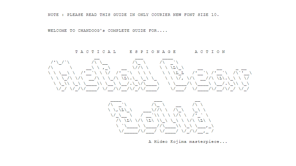 ASCII art reading 'Metal Gear Solid' and designed to look like the letters are 3D