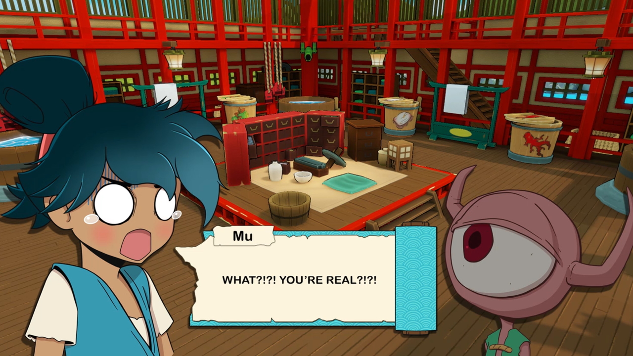 "Mu, the main protagonist exclaims ""WHAT?!?! YOU'RE REAL?!?!"" in surprise while speaking to a yokai."