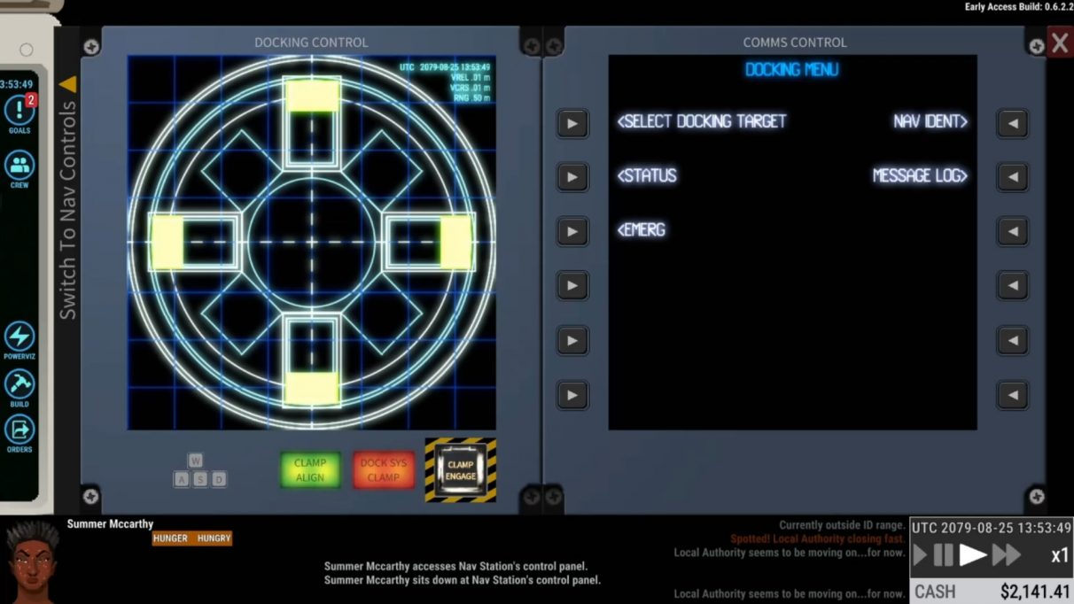On a simulated 80s-style computer monitor, cross-shaped docking clamps are aligned in a glowing wireframes display.