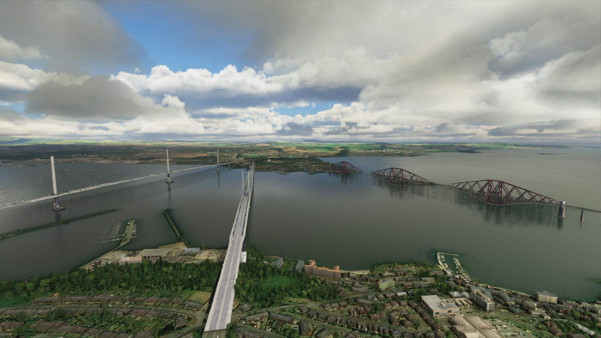 A Microsoft Flight Simulator showing the three bridges across Scotland's River Forth