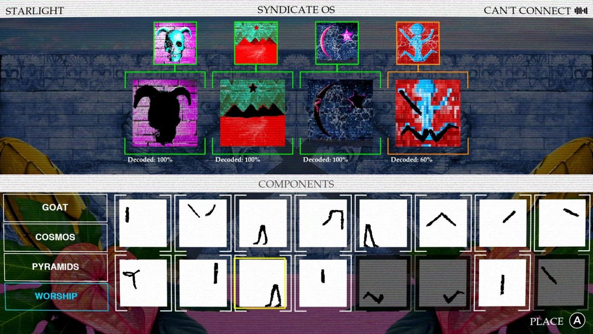 The hacking mini-game in Paradise Killer, where you jigsaw together shapes to make them match up with images like a skull with goat horns