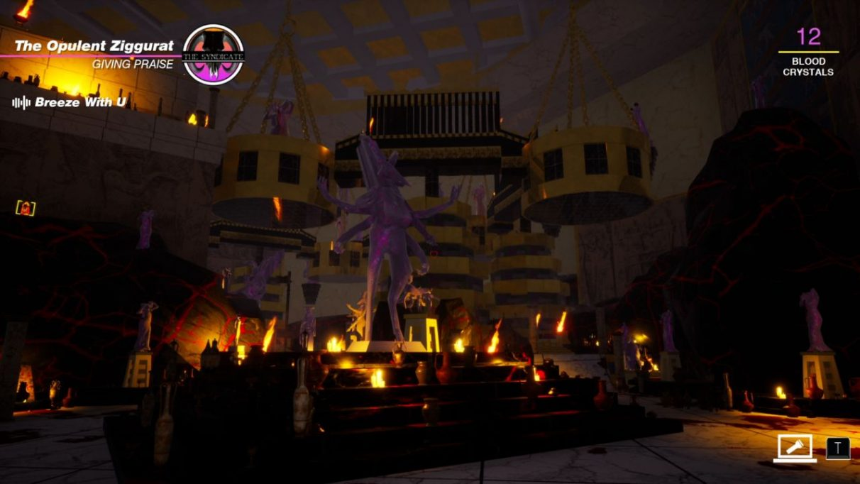 A screenshot showing The Opulent Ziggurat in Paradise Killer, a large room stuffed full of little altars and gaudy statues all covered in blood and gold. It has big tacky energy, but with slaughter on top