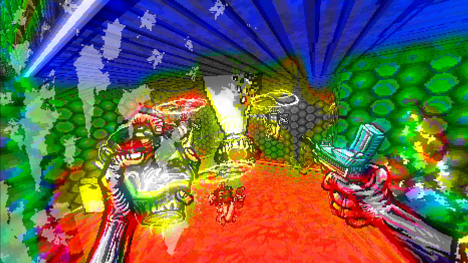 The player faces off against a mouth on a tentacle as it comes out of the cieling, and two hovering bladed... things.