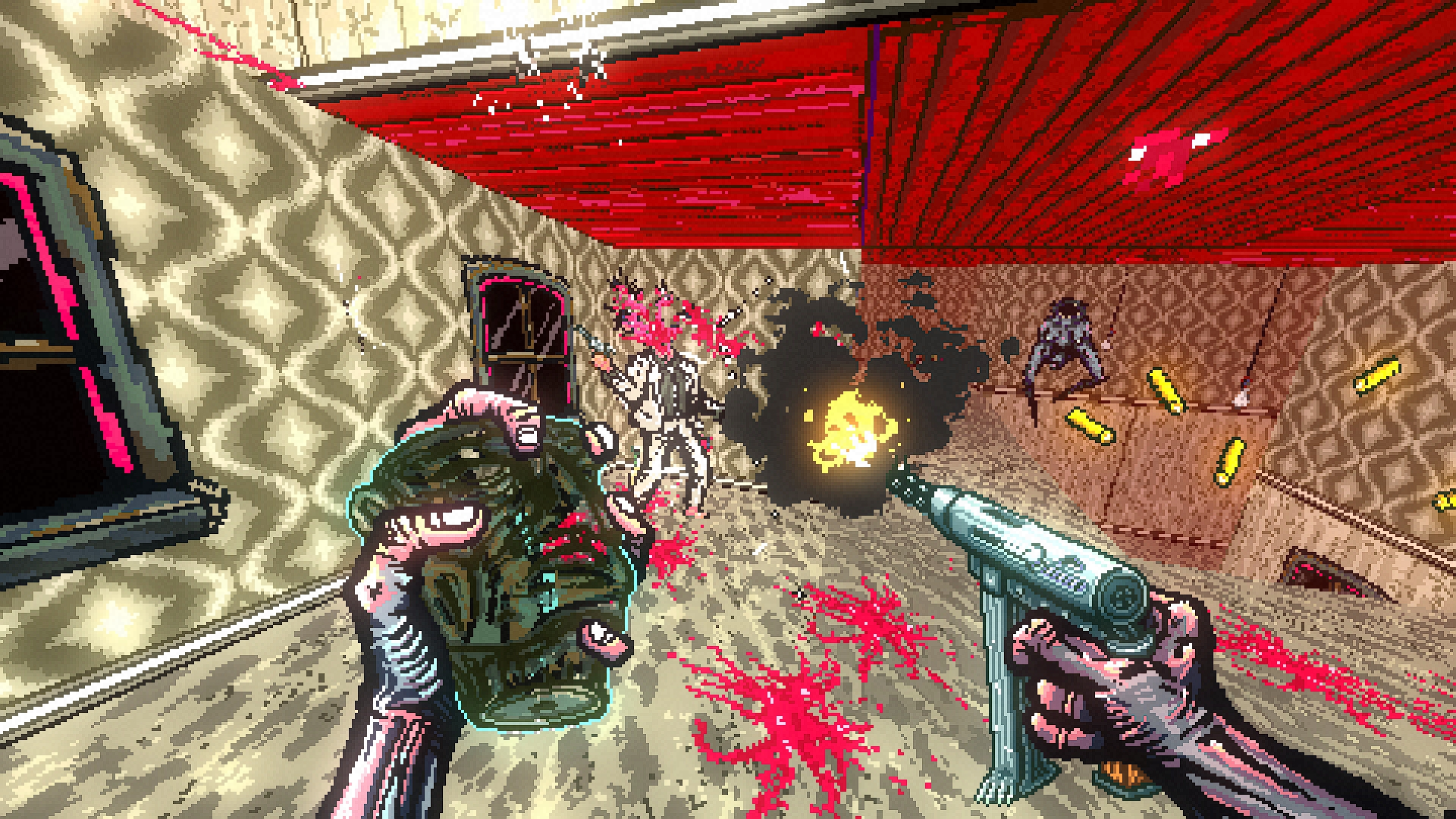 The player fires an uzi at monster in a white suit, in a wide open room with sickly green walls and floor. To the right, a bipedal mouth leaps across a gap to reach the player.