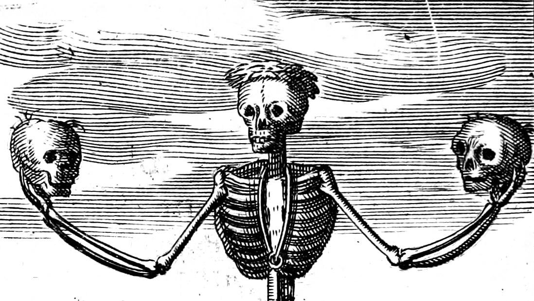 A skeletal illustration from 'Emblemes nouveaux; esquels le cours de ce monde est depeint et representé par certaines figures, desquelles le sens est expliqué par rimes'