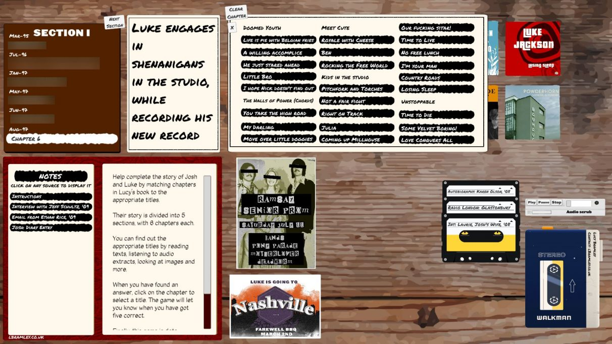 A screenshot of the full investigation table in Rivals, with album covers on the top right, cassette tapes of interviews, recordings and other audio on the bottom right, an index of written clues and flyers along the bottom and on the left, and a list of the chapters and sections of the book on the top left.