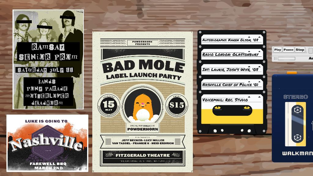 A screenshot of the investigation board in Rivals, including a poster for a launch party for a music label called Bad Mole and an invite to a school prom, with music by a band called Pony Parade