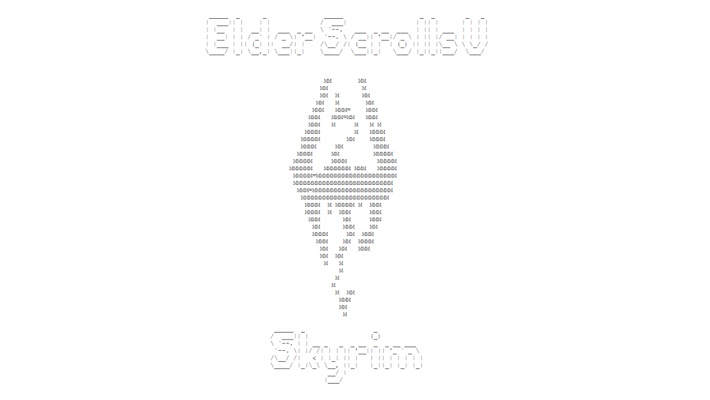 ASCII art of Skyrim's title and diamond-shaped dragon logo