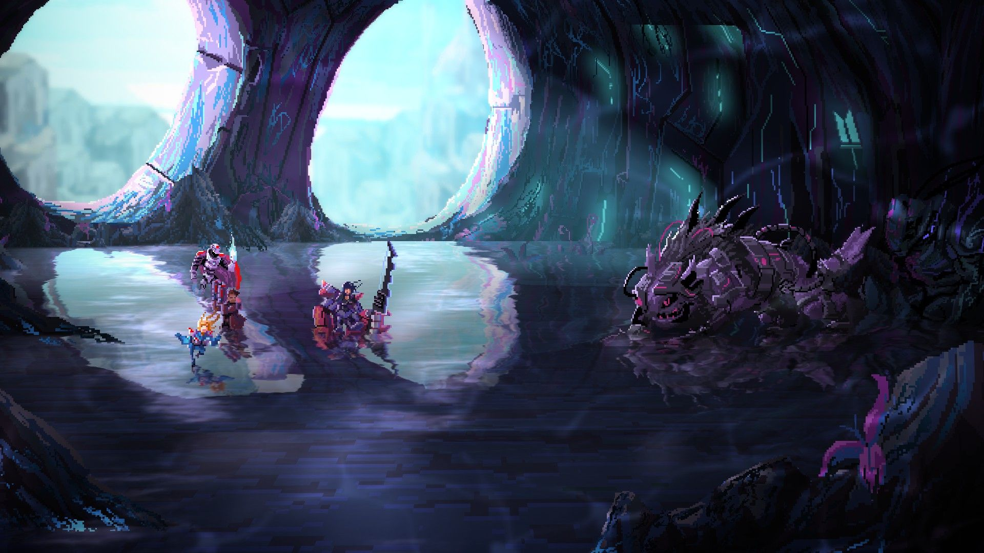 A screenshot from Star Renegades showing the player's team in a cave, about to attack what appears to be a big robot lizard