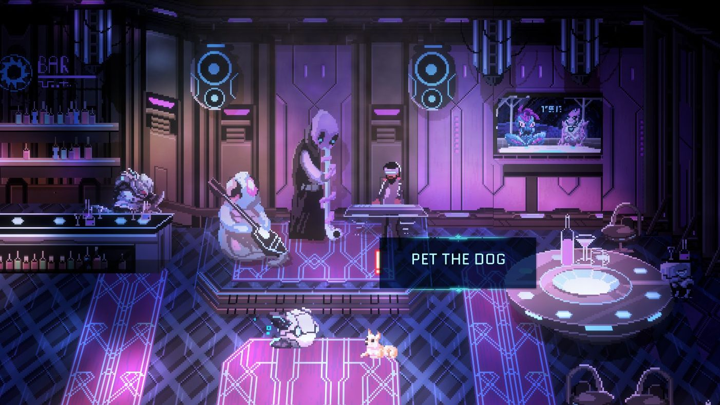 A screenshot showing the cantina where potential teamsters in Star Renegades hang out. A floating robot is look at a chihuahua. There is a prompt on screen saying 'pet the dog'