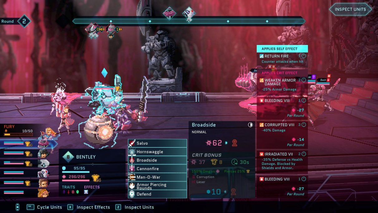 A screenshot of a fight in Star Renegades. There are four nesting menu boxes across almost the entire bottom of the screen, with the last (a list of applied self-effects of a move called 'Broadside') covering up the enemy units.