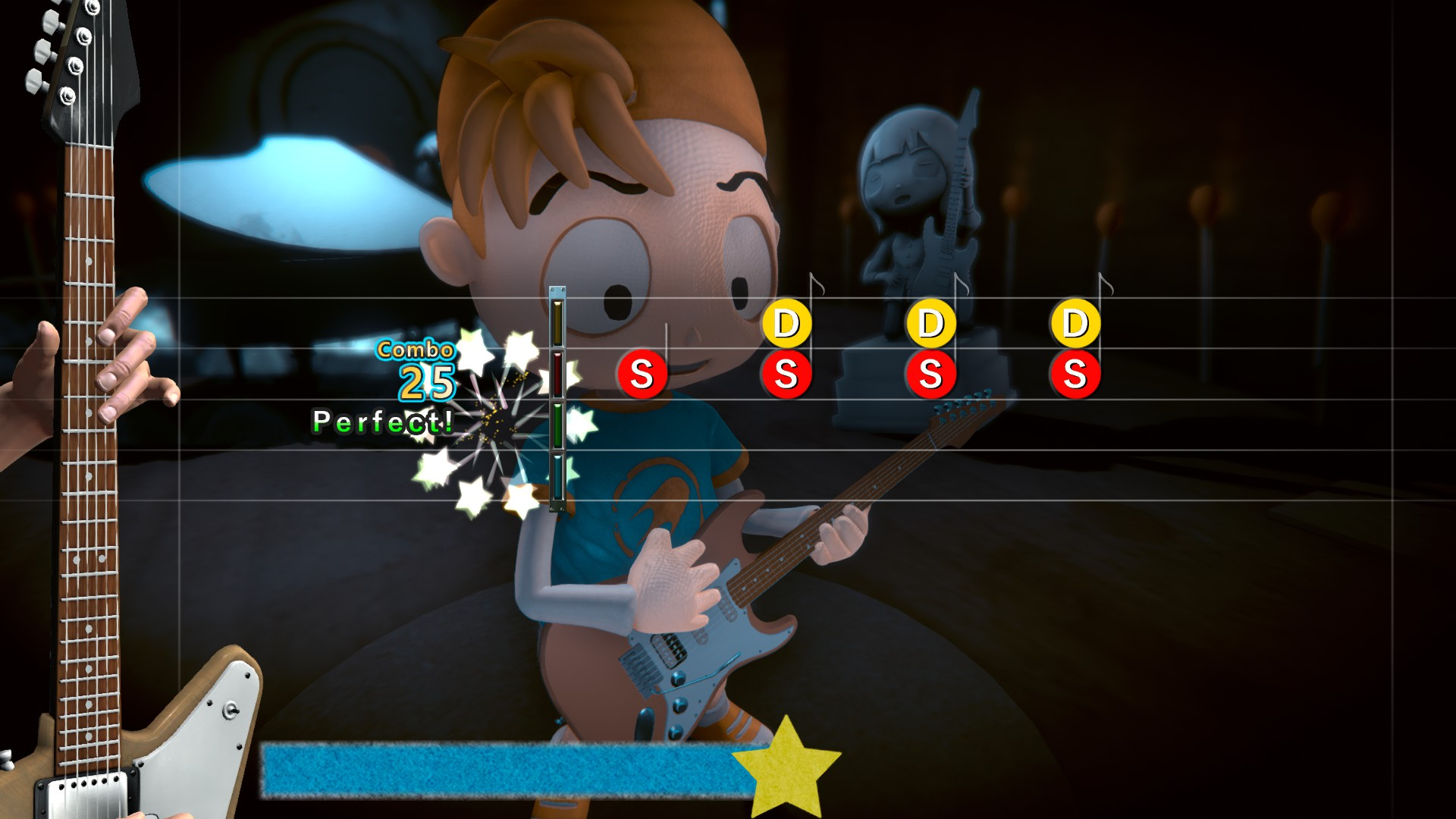 Edwin, a boy in a blue t-shirt and backwards baseball cap, plays a guitar. Superimposed over the front is a rhythm action UI, with a guitar's neck on the left and note icons floating in from the right.