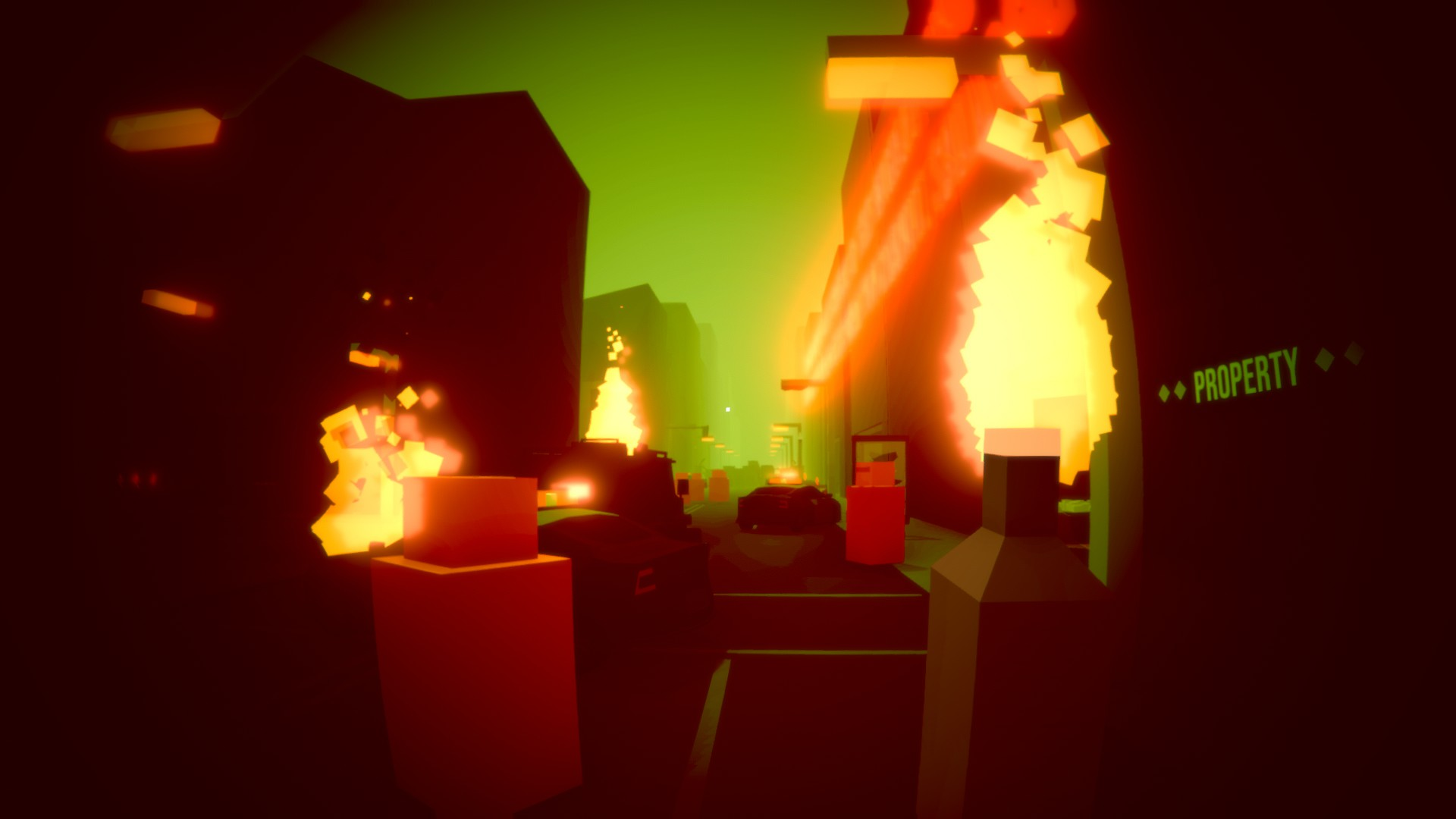 """A first person view of a very blocky street. The sky is green and hazy, and cars are on fire. The player holds a molotov cocktail. A sign on a shop reads """"PROPERTY"""""""