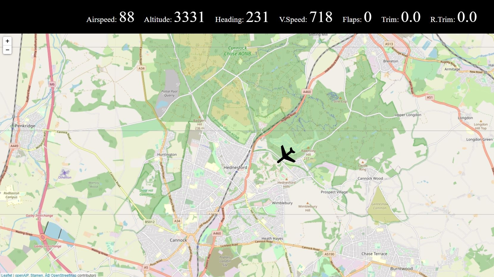 A screenshot of VFRMap. The addon shows an Open Street Map image with a plane icon overlaid