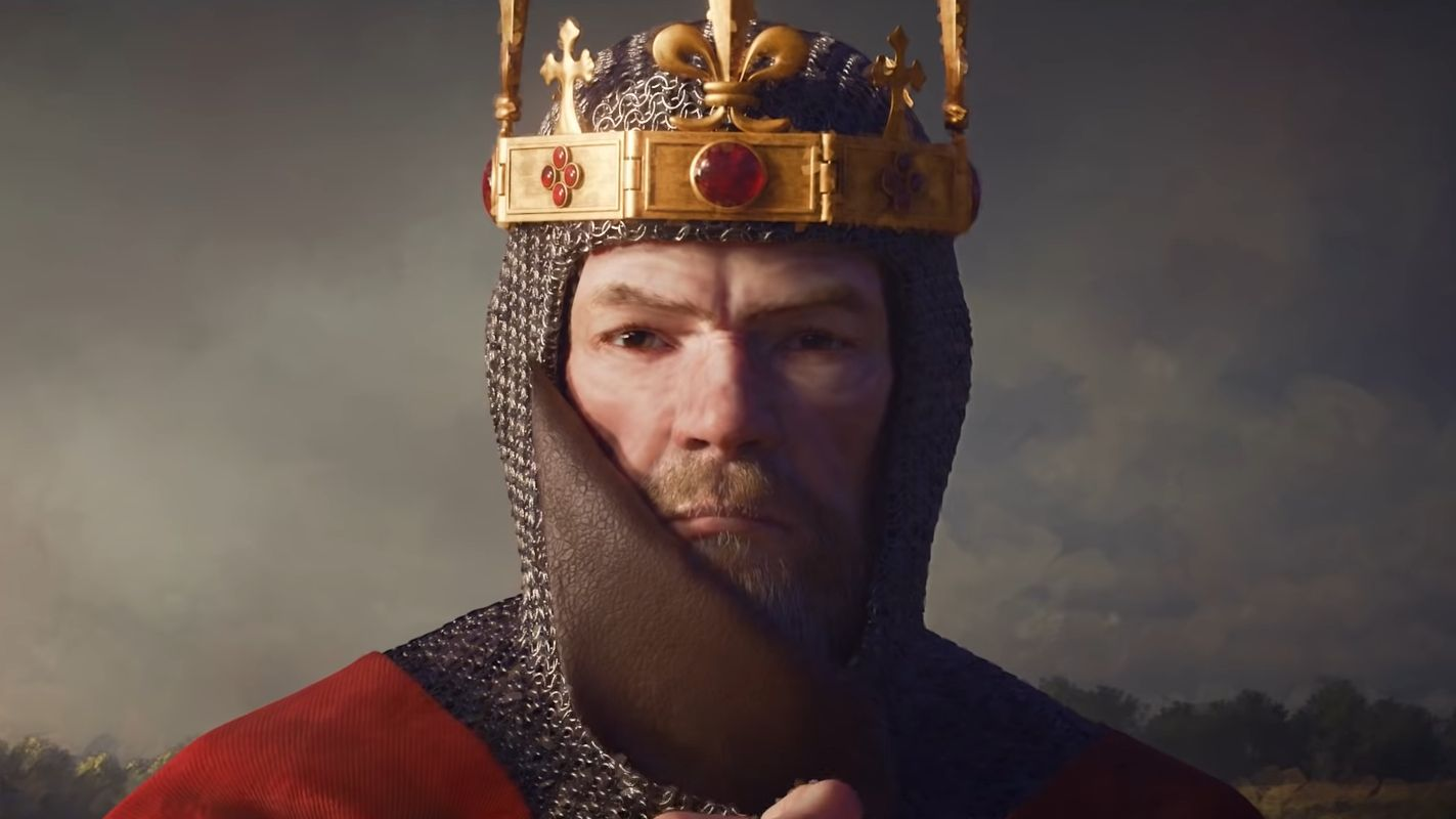 A piece of game art from Crusader Kings 3 showing a cross looking medieval king in close up.