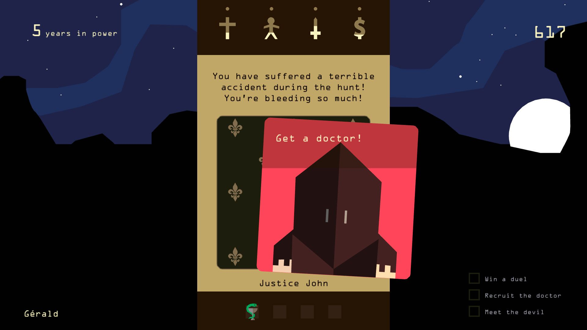 A screenshot from Reigns showing that you have been injured in a hunting accident and are bleeding, oh no!