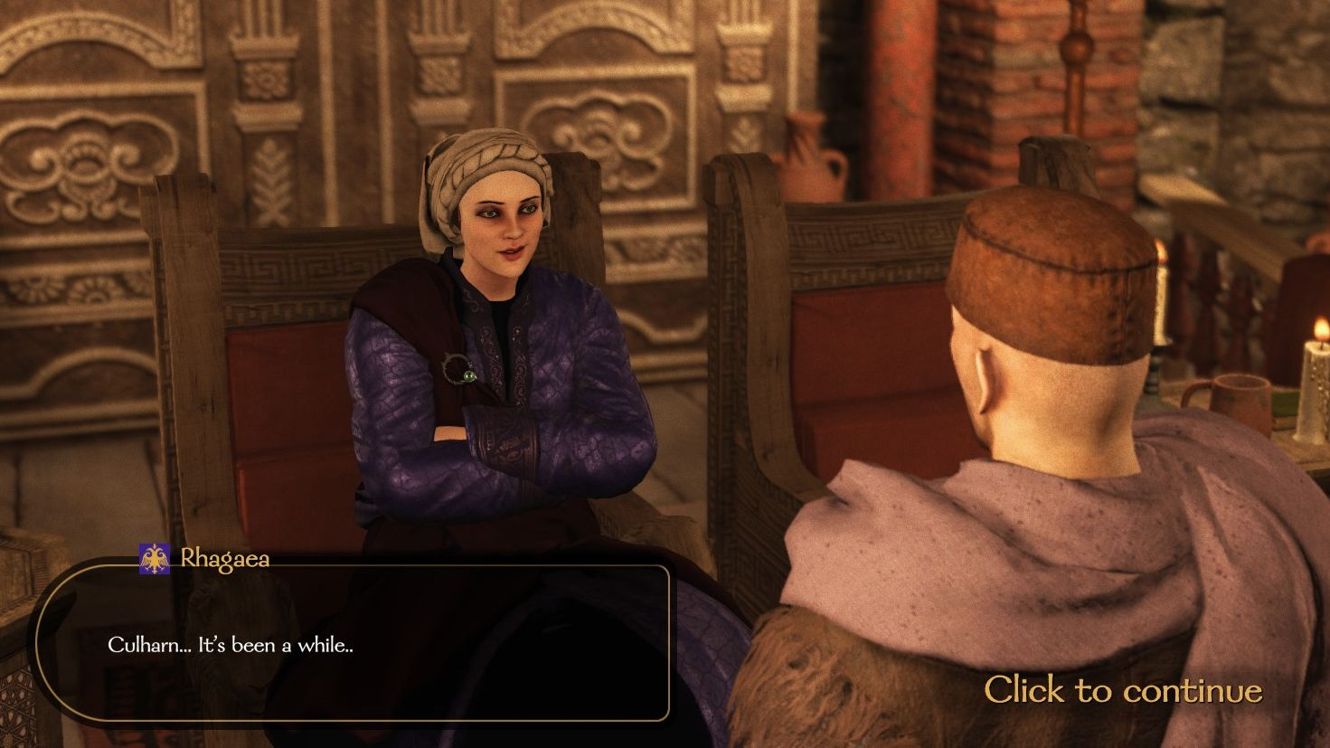 A screenshot from Mount & Blade II showing Empress Rhagaea. She is sitting on her throne, wearing a purple dress, and looks very smug.