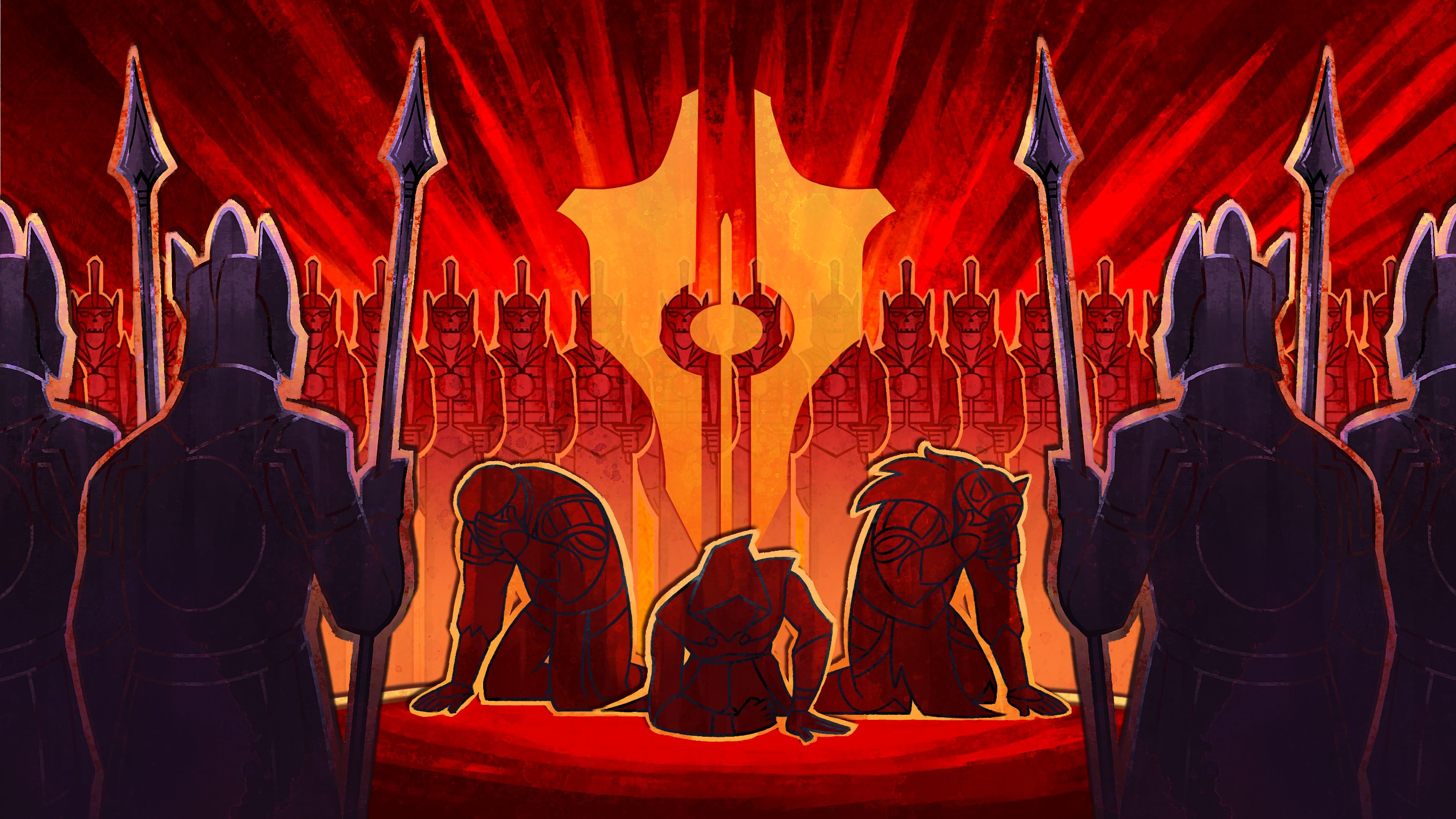 A screenshot from Tyranny showing three people kneeling and looking subjugated, whilst surrounded by an army of menacing skeletons