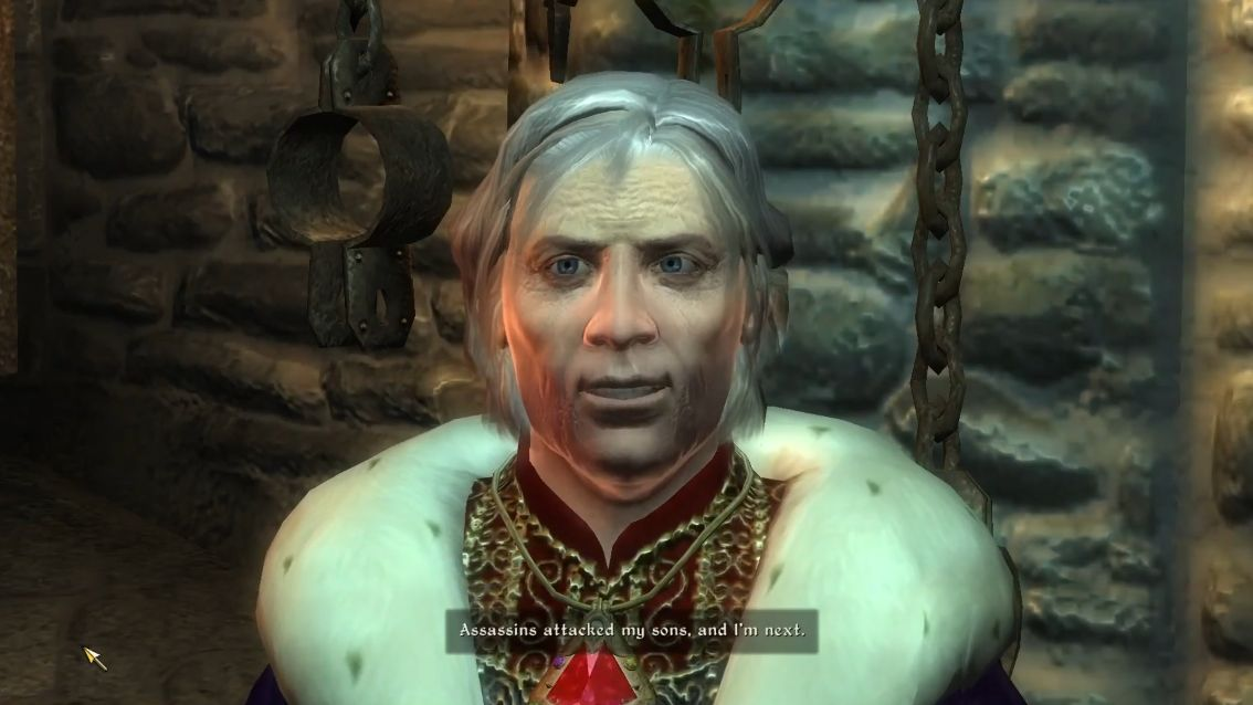 A screenshot from Oblivion showing everyone's favourite grandad emperor Uriel Septim