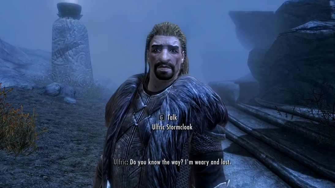 A screenshot of Ulfric Stormcloak from Skyrim, a man with a fur cloak and a big face.