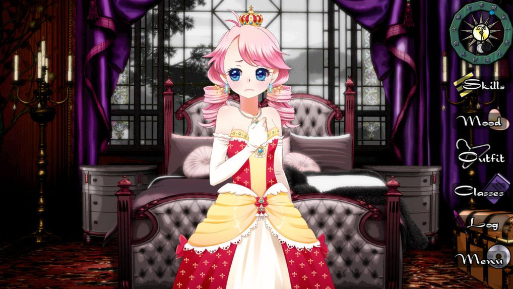 A screenshot of the Queen in Long Live The Queen. She is a very young woman wearing a yellow and red gown and a nervous expression.