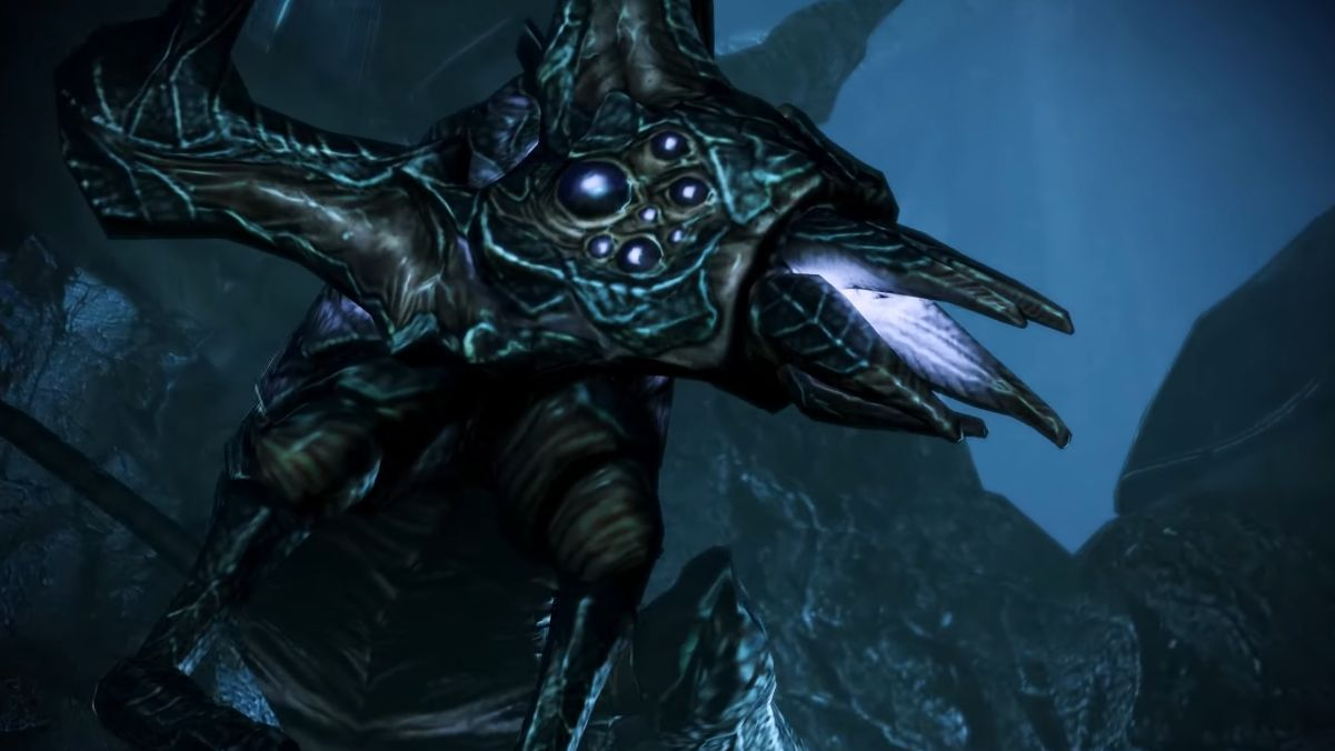 A screenshot of the Rachni Queen from Mass Effect, who looks kind of like a barnacle crossed with a spider scorpion.