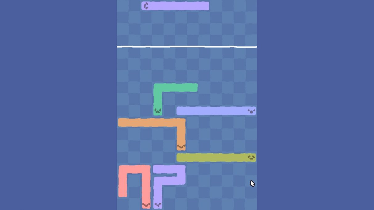 snakes with faces, turned into Tetris blocks.