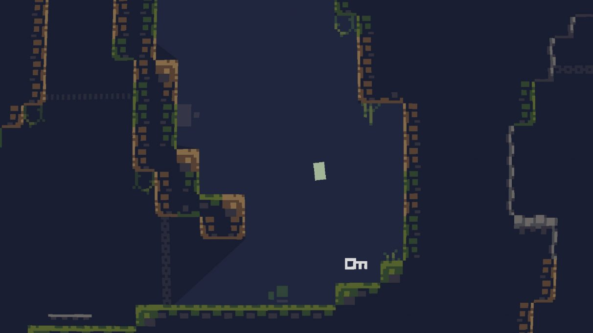 A little green blob adventures down a pixellated hole.
