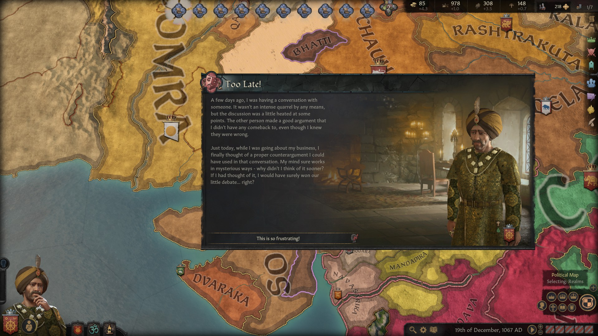 A Crusader Kings 3 screenshot showing an event where a noble character has remembered a clever comeback for a disagreement days before