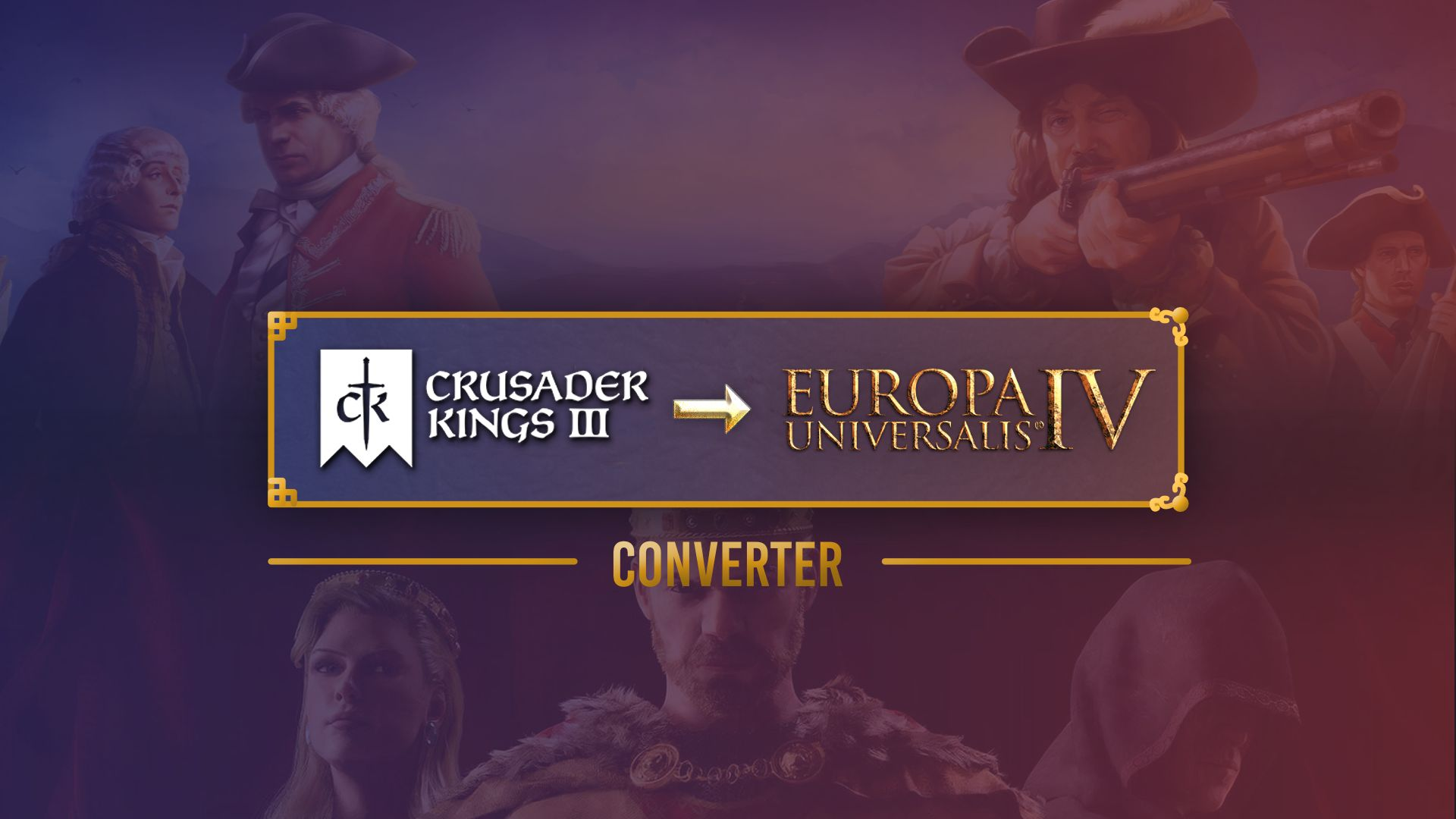 A piece of art showing the Crusader Kings 3 and Europa Universalis IV logos