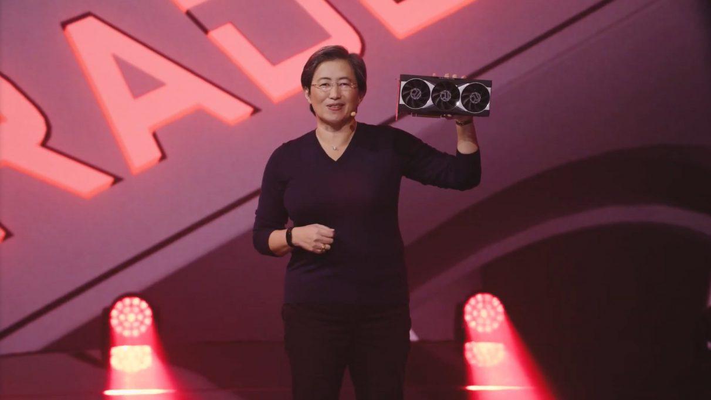 AMD's CEO Dr Lisa Su holding the first Radeon RX 6000 Big Navi GPU.