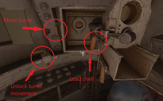 An annotated screenshot of the inside of the tank found in the Fort area of Amnesia Rebirth