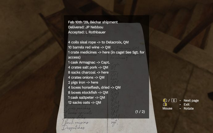 A list of army provisions found in Amnesia Rebirth