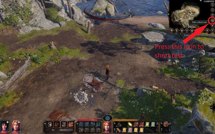 Baldur's Gate 3 screenshot showing short rest mechanic