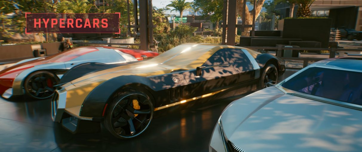 A screenshot of three different Hypercars in Cyberpunk 2077 lined up next to one another, in all their colourful, sleek, armoured glory.