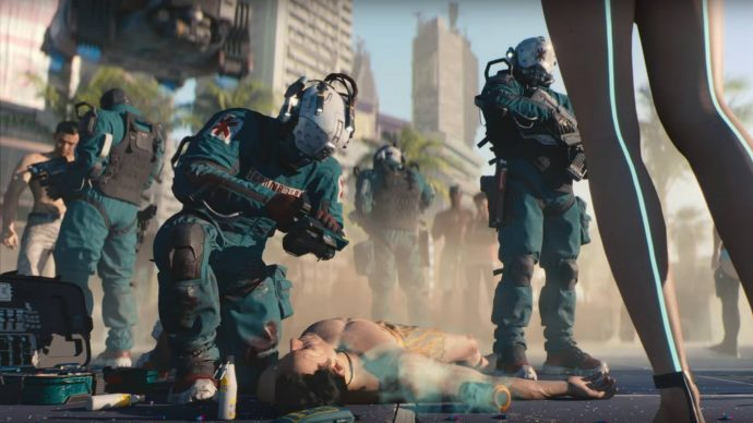 Trauma Team International is a Cyberpunk 2077 megacorporation that specialises in paramedical responses to violence and threats upon one's life.