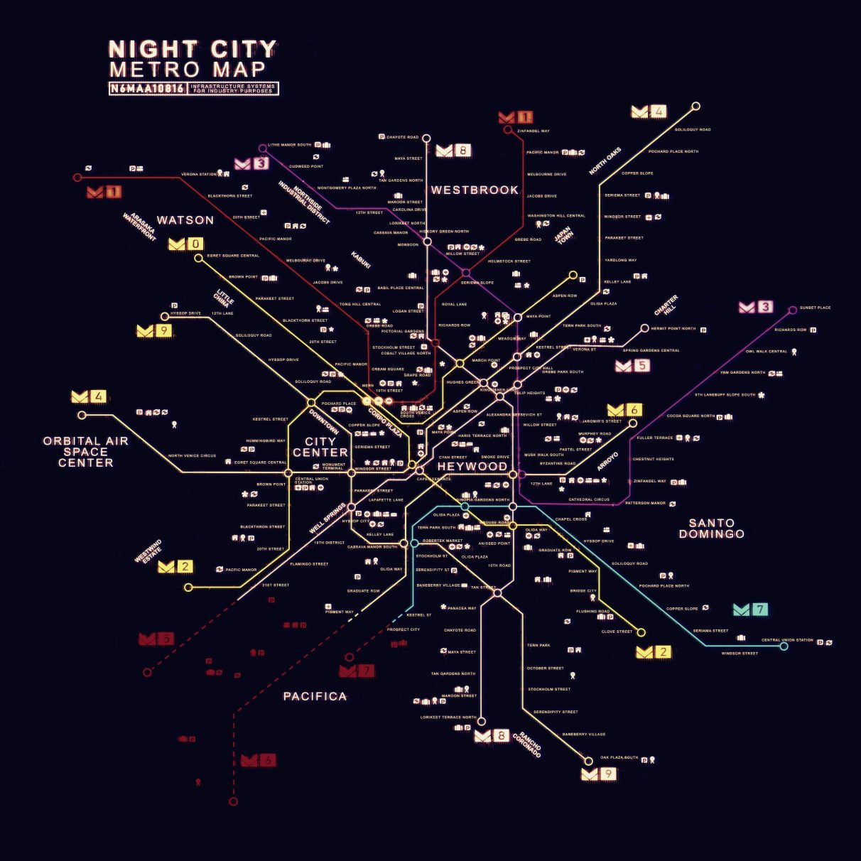 Here is the full Metro map of Night City, recreated from a glimpse of the map from one of Cyberpunk 2077's trailers.