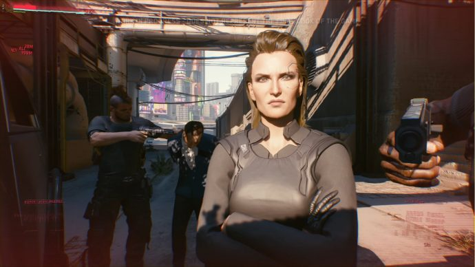 A screenshot of Meredith Stout from the Cyberpunk 2077 gameplay reveal.