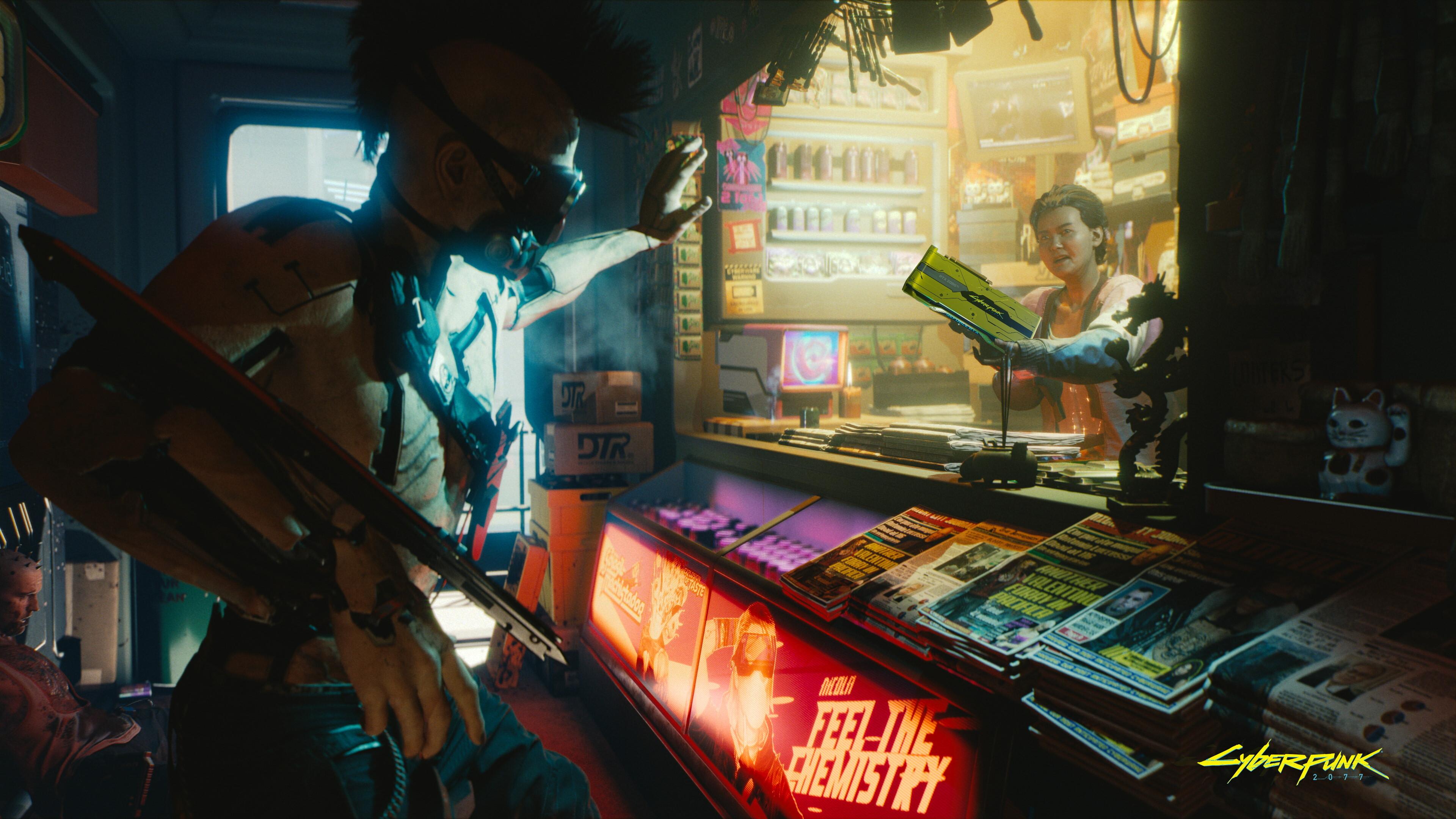 A woman working in a news kiosk in Cyberpunk 2077 desperately proffers a GeForce RTX 2080 Ti GPU at a customer.