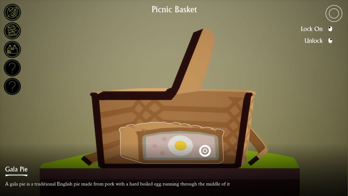 A screenshot showing the slicing in I Am Dead in action: the player is looking at the cross section of a picnic basket, inside of which is a meat pie, inside of which is a boiled egg.