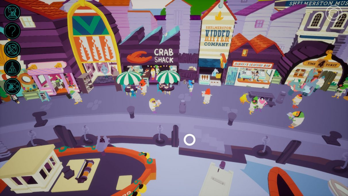 A screenshot showing the zoomed out harbour front of Shelmerston in I Am Dead. The seafront is bustling and people are queuing in shops. Many of the shops are fish-based, including the Crab Shack, the Shelmerston Kipper Company and Audrey's Seafood Bar