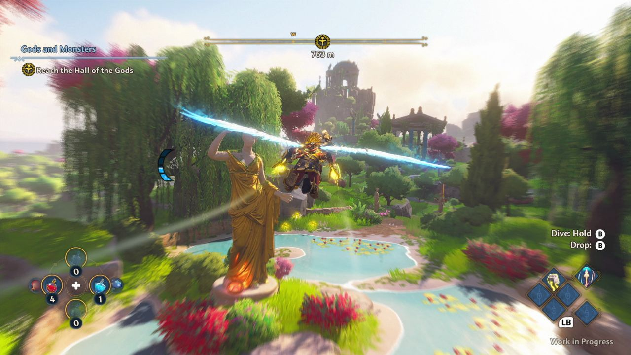 In this screenshot, Fenyx the protagonist is soaring through the landscape of Aphrodite's realm in Immortals Fenyx Rising. There is a pond with a golden and marble statue of her. It is surrounded by weeping willows and flowering shrubs, and full of lilies. On the horizon there are Grecian temple buildings.